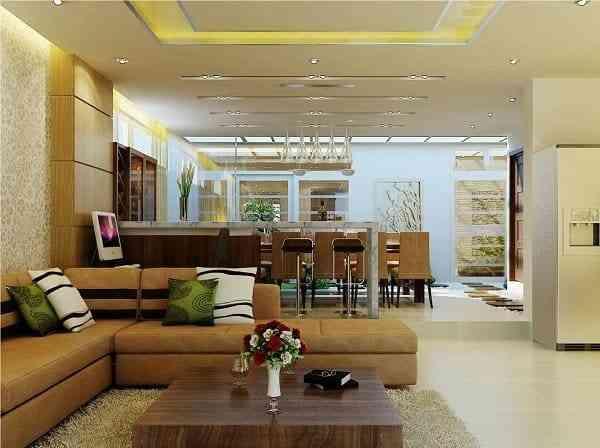 Hướng dẫn thiết kế phòng khách và nhà bếp liên thông - Mẫu 2