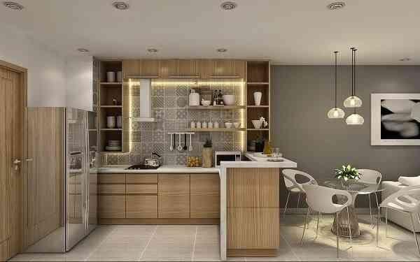 Hướng dẫn thiết kế phòng khách và nhà bếp liên thông - Mẫu 4
