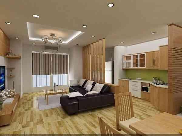 Hướng dẫn thiết kế phòng khách và nhà bếp liên thông - Mẫu 6