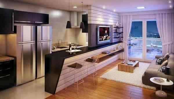 Hướng dẫn thiết kế phòng khách và nhà bếp liên thông - Mẫu 7
