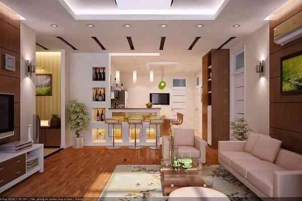 Hướng dẫn thiết kế phòng khách và nhà bếp liên thông - Mẫu 8