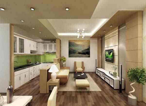 Hướng dẫn thiết kế phòng khách và nhà bếp liên thông - Mẫu 1