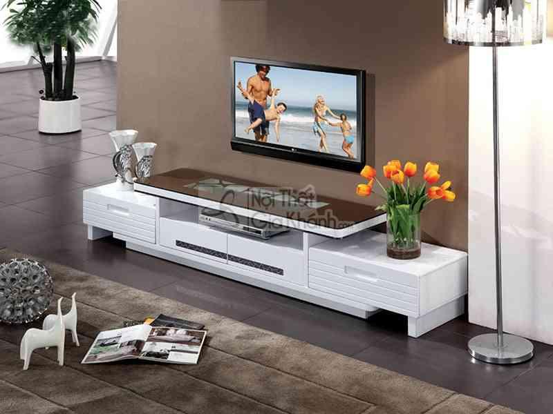 Thiết kế kệ tivi phòng khách độc đáo có một không hai - ke tivi mat kinh phong khach nhap khau y2014043