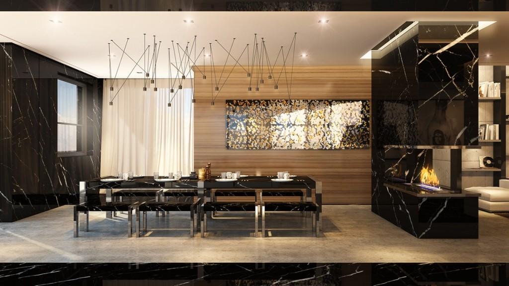 Mẫu thiết kế nhà cực sang trọng - mau nha dep black marble and steel dining room 1024x576