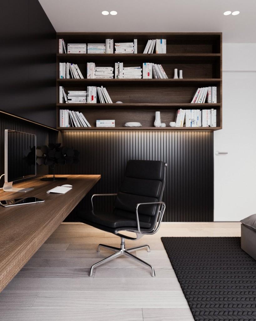 mau-nha-dep-black-wainscoting-in-office