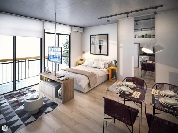 5 thiết kế studio nhỏ đẹp - mau nha dep burgundy yellow and blue interior 600x450