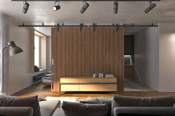 5 thiết kế studio nhỏ đẹp - mau nha dep clever sliding doors for studio apartment 600x400