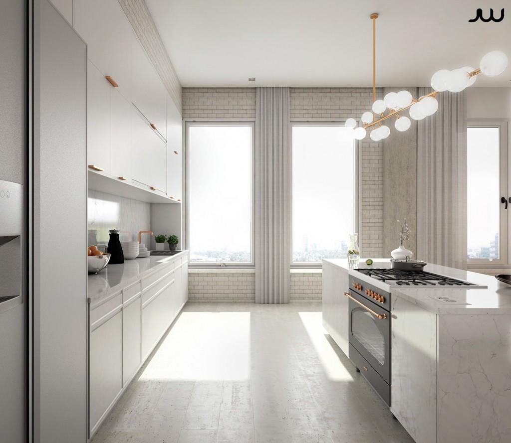 Mẫu thiết kế nhà cực sang trọng - mau nha dep copper and marble luxury kitchen 1024x889