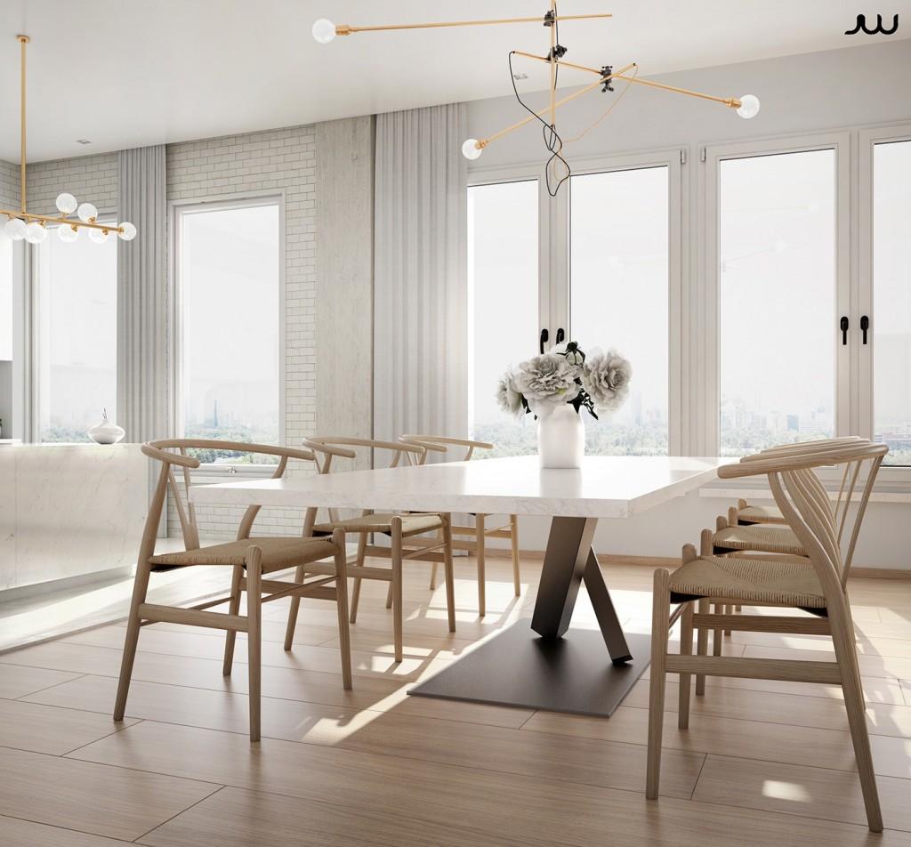 Mẫu thiết kế nhà cực sang trọng - mau nha dep dining room with wishbone chairs 1024x952