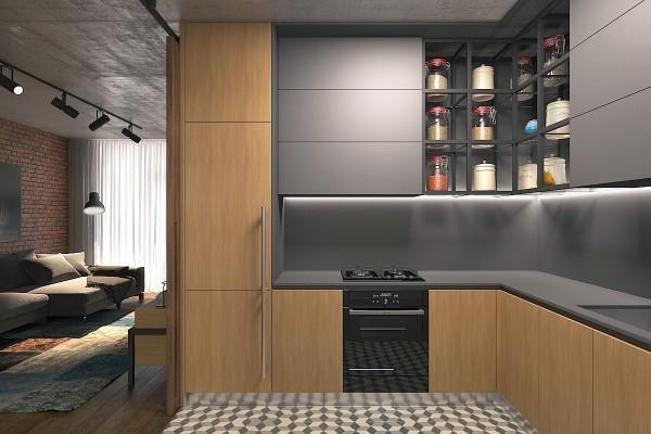 5 thiết kế studio nhỏ đẹp - mau nha dep kitchen with jars for dry goods 600x400