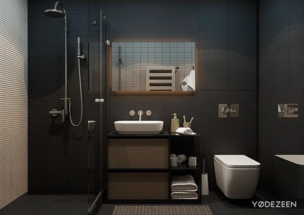 5 thiết kế studio nhỏ đẹp - mau nha dep matte black bathroom interior design 600x424