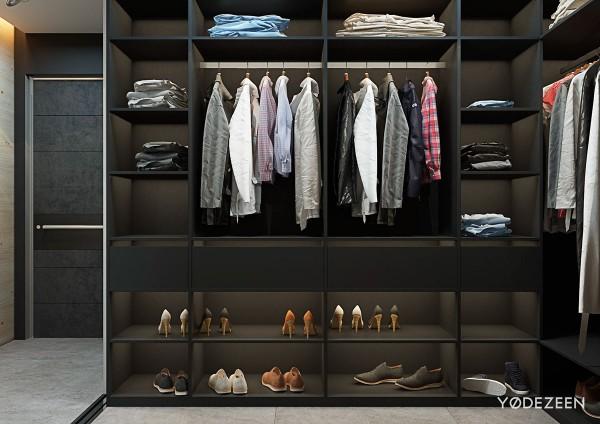 5 thiết kế studio nhỏ đẹp - mau nha dep matte black walk in closet design 600x424