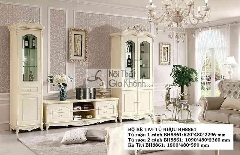 Bí quyết lựa chọn Kệ tivi phòng khách nhà ống sao cho đẹp nhất - tu ruou 2 canh cao tan co dien gia re bh8861tr2 2 2