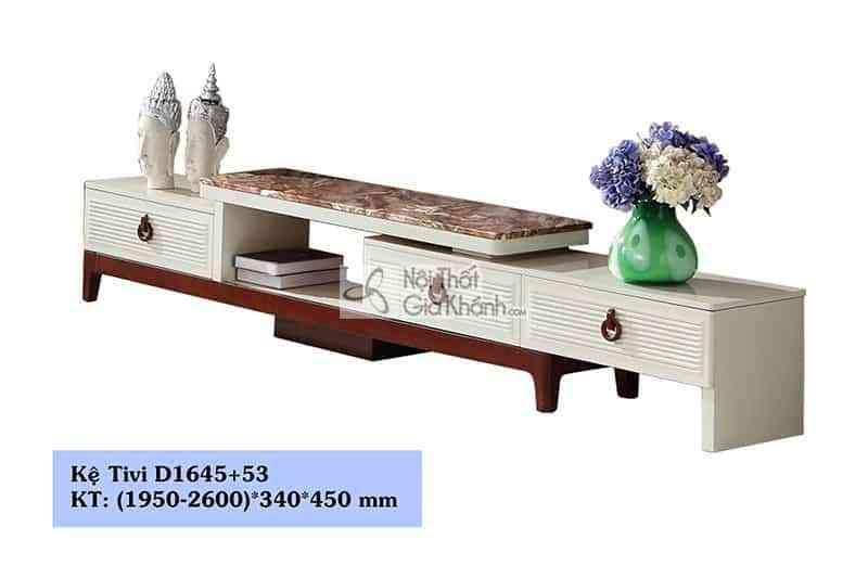 Tủ tivi gỗ công nghiệp hiện đại đa năng mặt đá nâu D1645+53 - D1645D16453