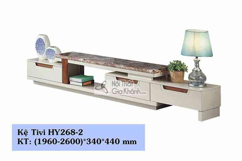 Kệ tivi gỗ công nghiệp phòng khách đa năng hiện đại mặt đá nâu HY268-2