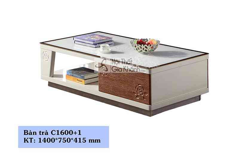Bàn trà (Bàn Sofa) gỗ phòng khách mặt kính trắng hiện đại C1600+16001 - ban an mat da cong nghiep kich thuoc nho t16803b1m23 4