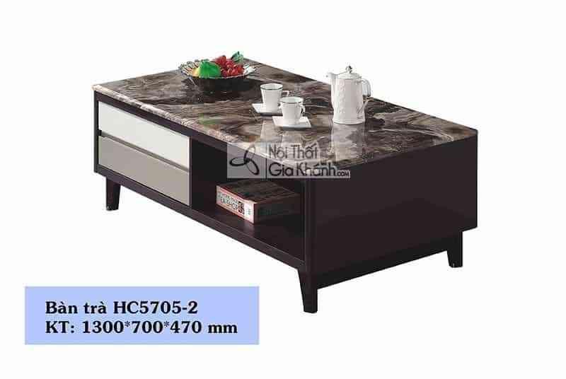 Bàn trà (Bàn Sofa) gỗ hiện đại mặt đá sang trọng HC5705-2 - ban tra ban sofa go phong khach hien dai mat kinh trang hc835 1 2