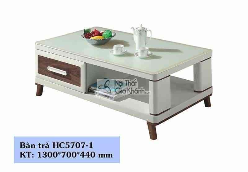 Bàn trà (Bàn Sofa) gỗ phòng khách hiện đại mặt kính trắng HC835-1