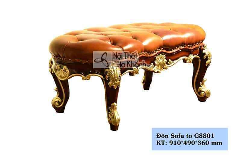 Đôn sofa tân cổ điển màu nâu sang trọng G8801ĐT - don sofa tan co dien mau nau sang trong g8801dt