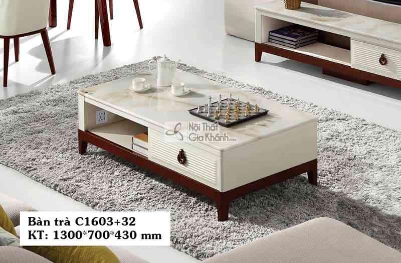 Bàn trà (Bàn Sofa) gỗ phòng khách hiện đại mặt đá C1603+32 1m3 - C1603C16032 1300