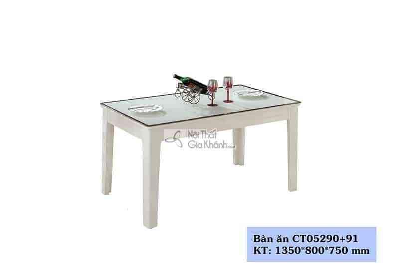 Bàn ăn 4 ghế màu trắng 1m35 hiện đại mặt kính cường lực CT05290+91
