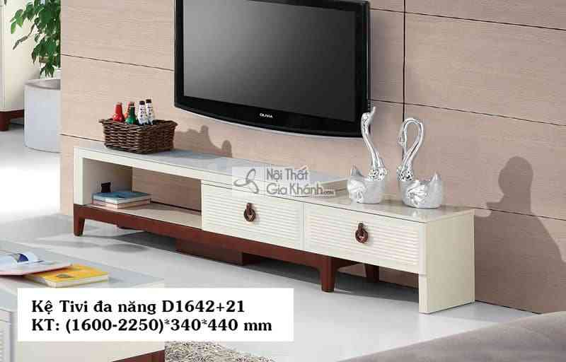 Kệ tivi hiện đại đơn giản gỗ công nghiệp mặt kính cường lực D1642+21 - D1642D16421