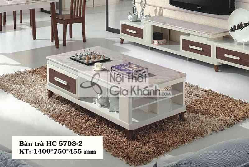 Bàn trà (Bàn Sofa) gỗ hiện đại mặt đá đơn giản màu trắng HC5708-2