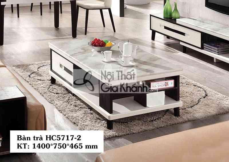 Bàn trà (Bàn Sofa) gỗ hiện đại mặt đá nhập khẩu sang trọng HC5717-2