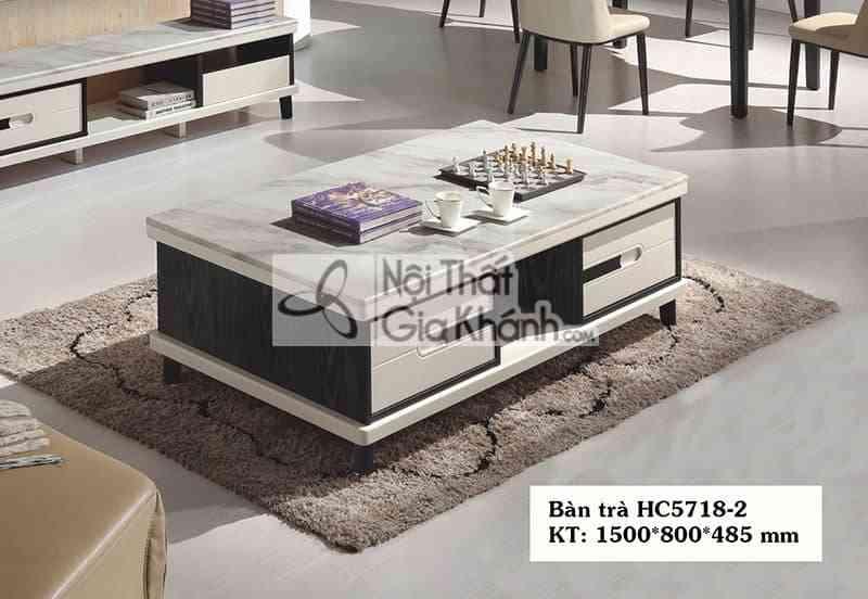 Bàn trà (Bàn Sofa) gỗ phòng khách hiện đại mặt đá nhập khẩu HC5718-2