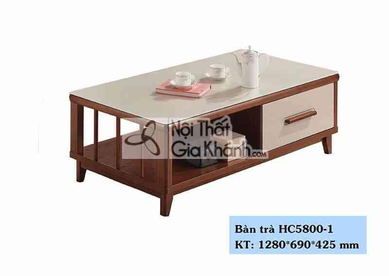 Bàn trà (Bàn Sofa) hiện đại mặt kính trắng phòng khách HC5800-1