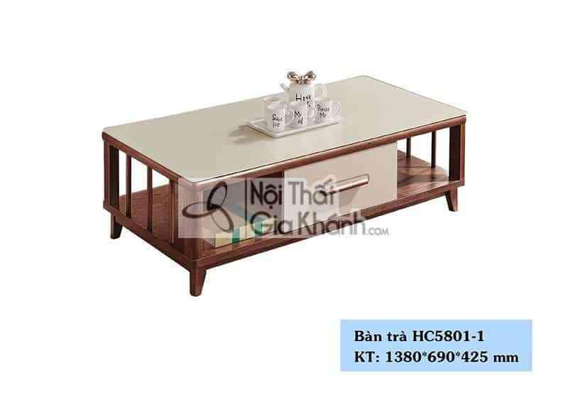 Bàn trà mặt kính gỗ nhập khẩu cho phòng khách chung cư HC5801-1