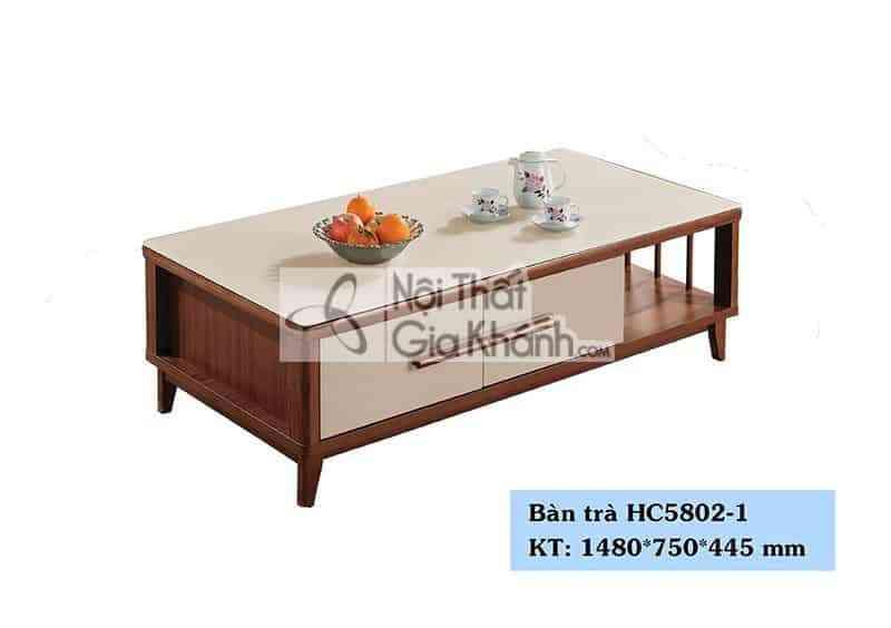 Bàn trà (Bàn Sofa) hiện đại mặt kính nhập khẩu Trung Quốc HC5802-1 - HC5802 1