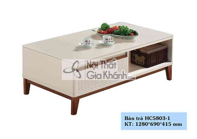 Bàn trà (Bàn Sofa) mặt kính cho phòng khách chung cư HC5803-1 - HC5803 1