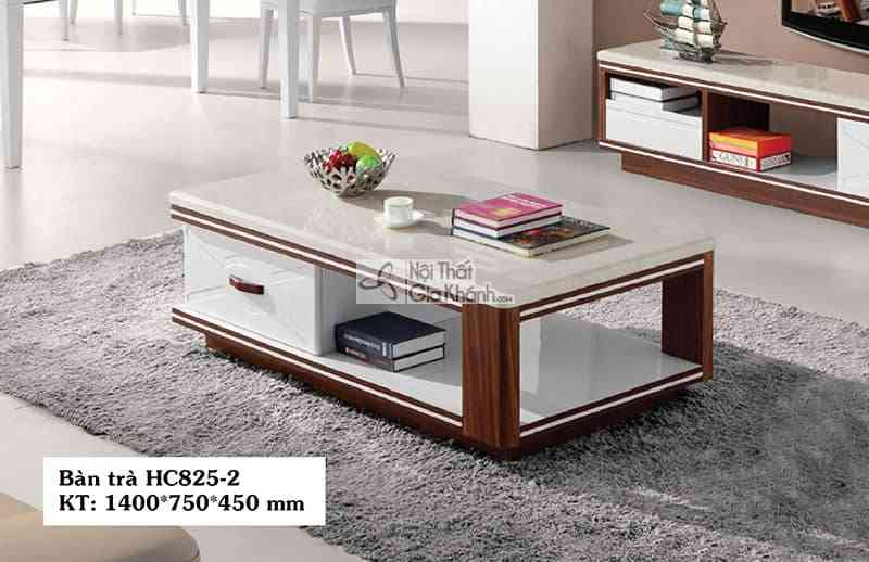Bàn trà (Bàn Sofa) gỗ hiện đại mặt đá phòng khách sang trọng HC825-2