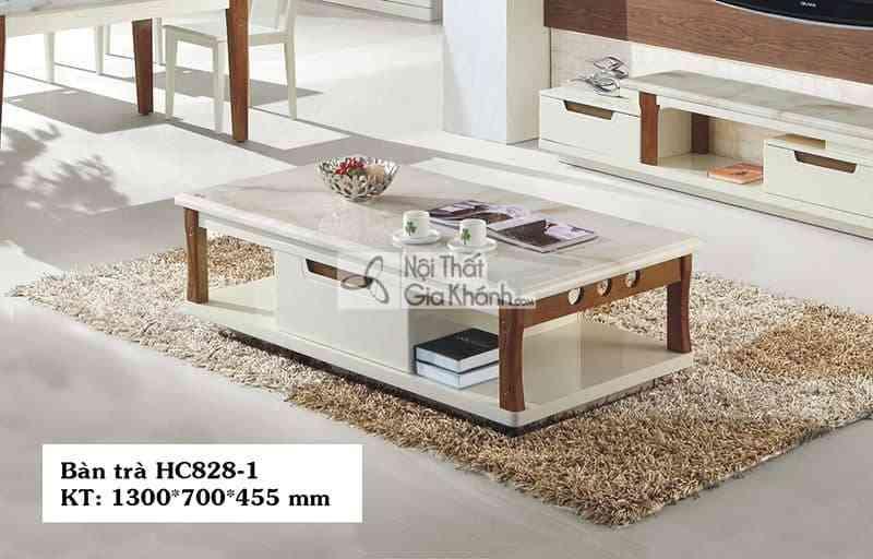 Bàn trà (Bàn Sofa) gỗ phòng khách hiện đại mặt đá nhập khẩu HC828-1