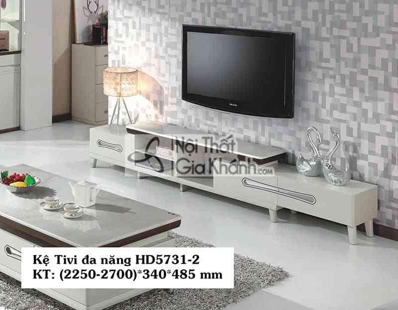 Kệ tivi đa năng hiện đại gỗ công nghiệp mặt đá 2 ngăn kéo HD5731-2