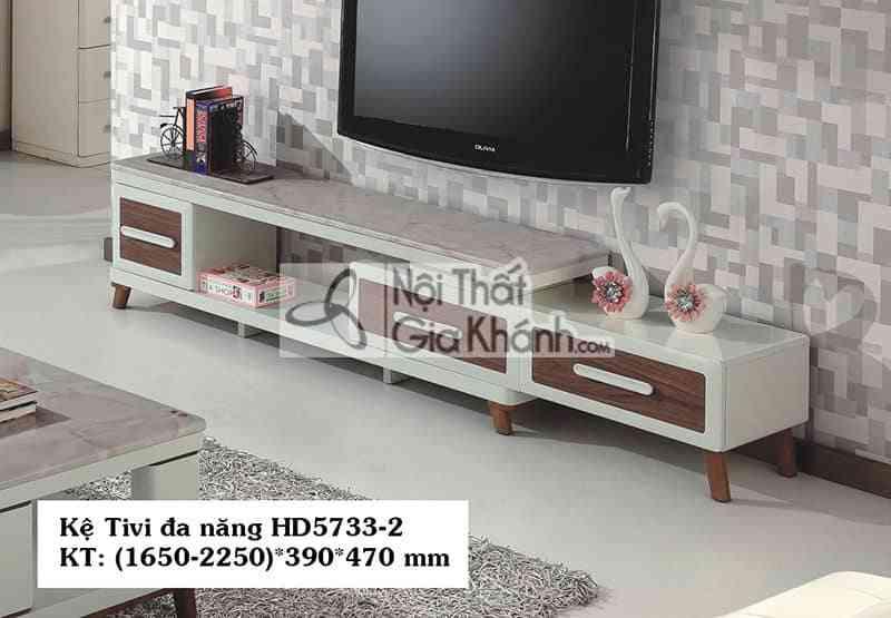 Kệ tivi đa năng gỗ công nghiệp hiện đại mặt đá màu trắng HD5733-2 - HD5733 2