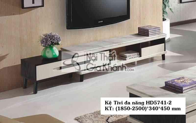Kệ tivi đa năng hiện đại mặt đá gỗ công nghiệp màu đen trắng HD5741-2 - HD5741 2