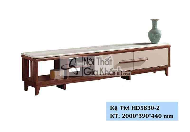Kệ tivi phòng khách hiện đại gỗ công nghiệp mặt đá màu trắng HD5830-2 - HD5830 2