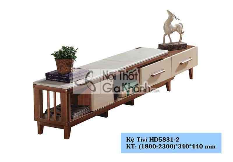 Kệ tivi gỗ công nghiệp đa năng hiện đại mặt đá màu trắng HD5831-2 - HD5831 2.