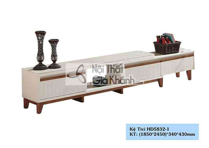 Kệ tivi đa năng hiện đại gỗ công nghiệp mặt kính cường lực trắng HC5832-1 - HD5832 1