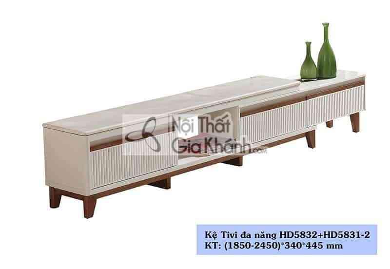 Kệ tivi gỗ công nghiệp phòng khách hiện đại mặt đá HC5832+HC5831-2