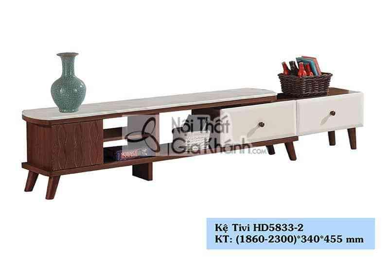 Kệ tivi gỗ công nghiệp phòng khách đa năng hiện đại nâu mặt đá trắng HD5833-2