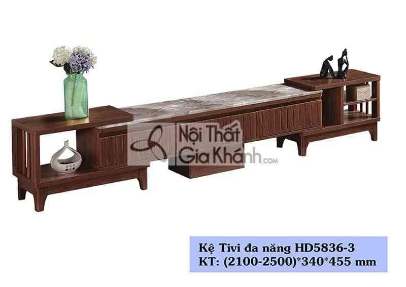 Kệ tivi gỗ công nghiệp hiện đại đa năng mặt đá nâu sang trọng HD5836-3