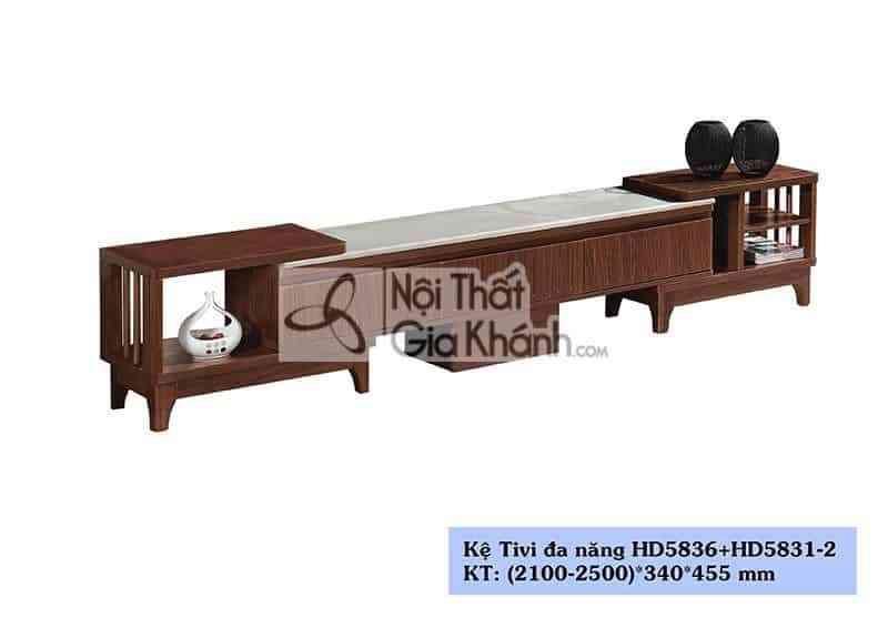 Kệ tivi gỗ công nghiệp hiện đại mặt đá màu trắng HD5836+HC5831-2 - HD5836HD5831 2