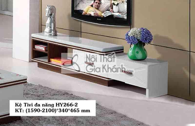 Kệ trưng bày tivi gỗ công nghiệp hiện đại mặt đá màu trắng HY266-2 - HY266HY266 2