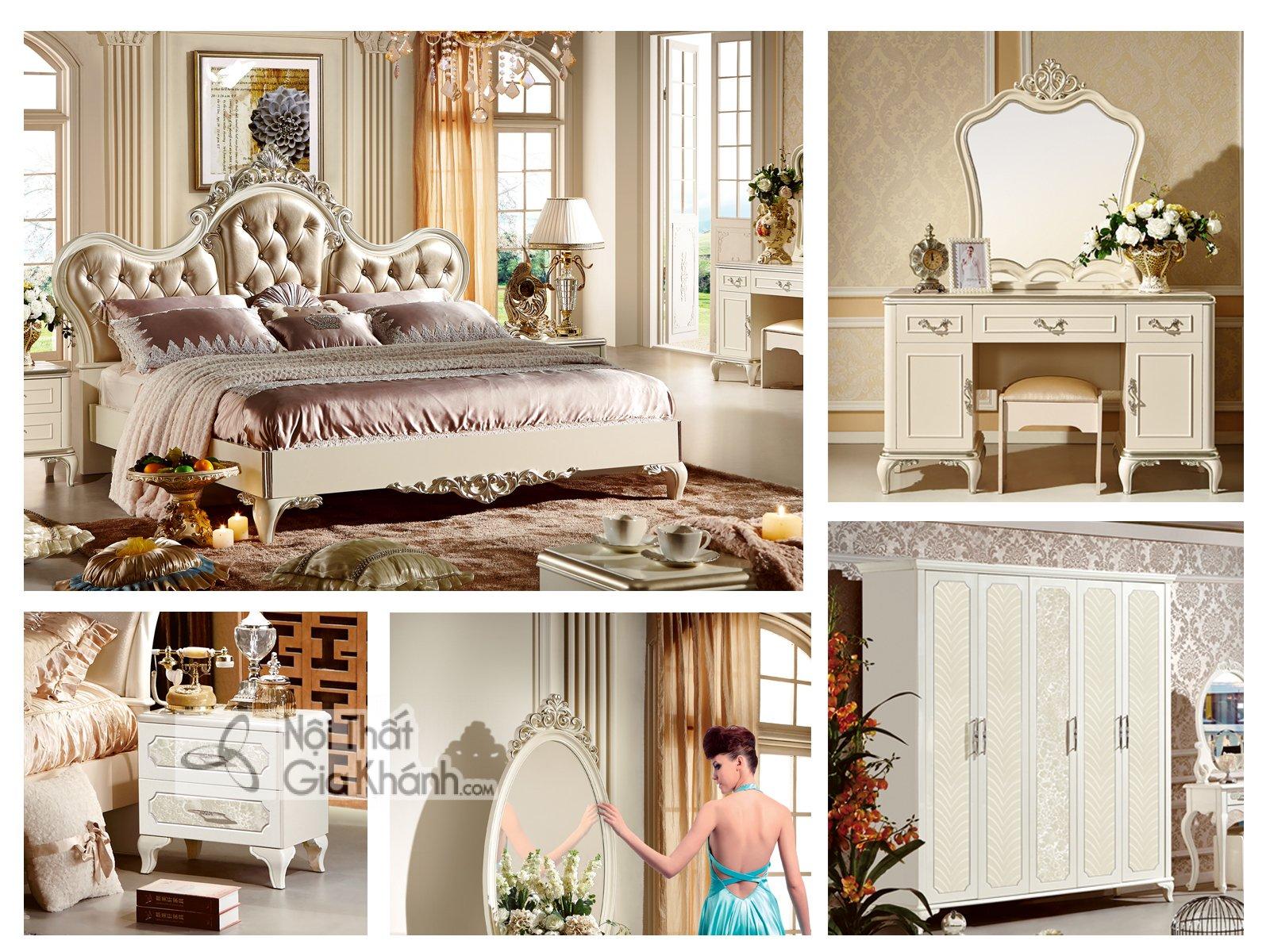 Bộ phòng ngủ tân cổ điển bọc da phong cách Pháp 38631BG - bo phong ngu tan co dien boc da phong cach phap 38631bg 2