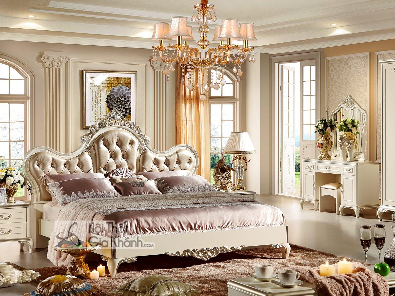 Bộ phòng ngủ tân cổ điển bọc da phong cách Pháp 38631BG - bo phong ngu tan co dien boc da phong cach phap 38631bg 6