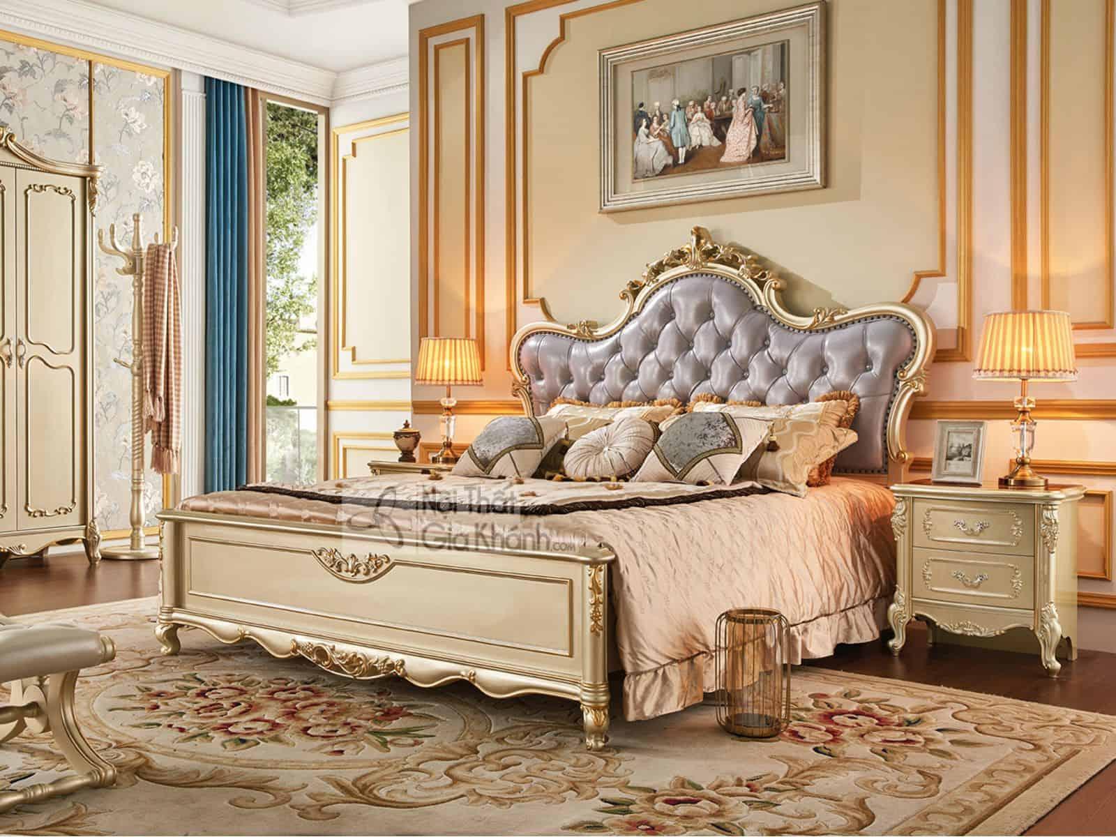 giuong ngu go soi nhap khau gk8835al 2 - Táp gỗ đầu giường phong cách Tân cổ điển TA8802A (Mẫu mới nhất)