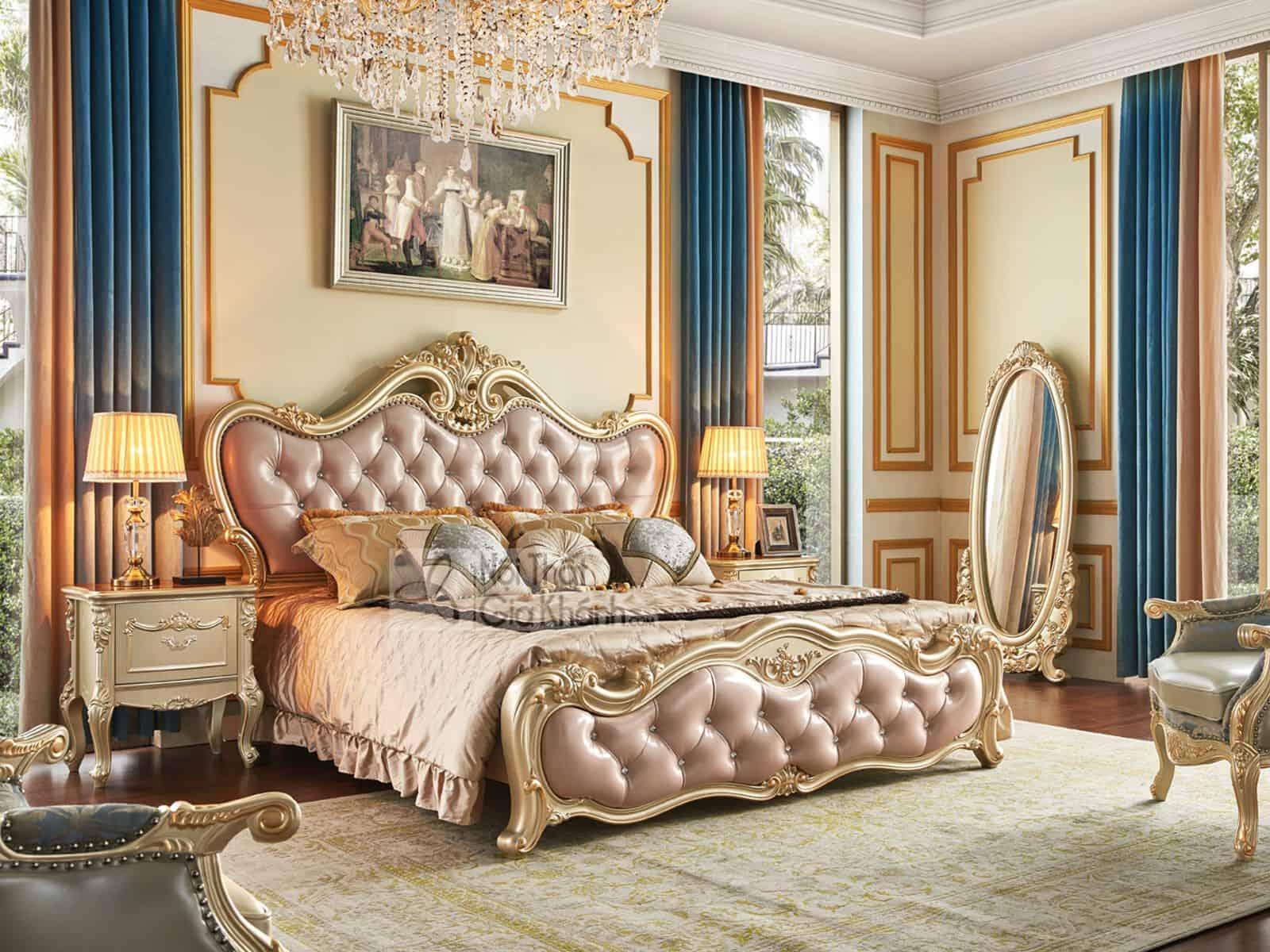 Giường gỗ nhập khẩu phong cách tân cổ điển GI8802A (Mẫu mới nhất)